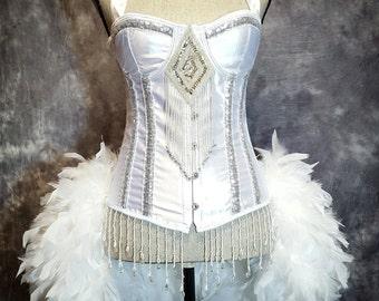 SNOW QUEEN White Swan Costume Vintage Style Halloween Wedding Corset Feather Showgirl Burlesque Dress