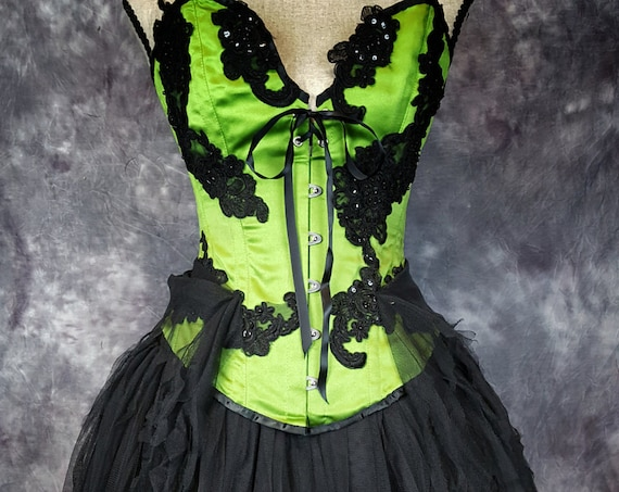 EDWARDIAN COSTUME Burlesque Corset Steampunk Dress Gothic Wedding Green Black prom tulle skirt