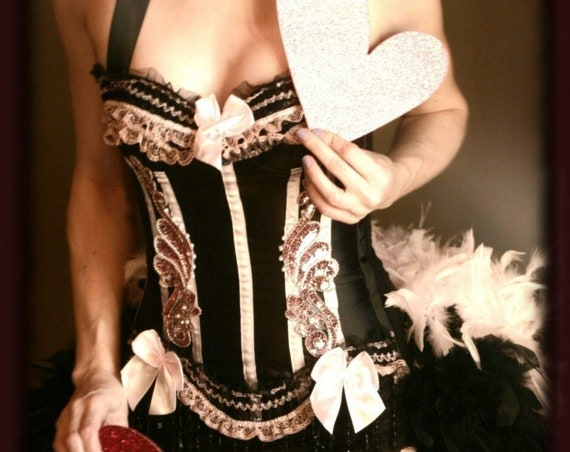 BARRYMORE Pink & Black Beaded Sequins Outfit Burlesque Feather Costume Corset Great Gatsby Saloon Girl dress