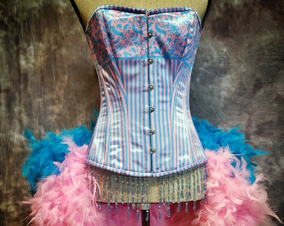 BUBBLE GUM Striped corset Circus easter burlesque costume pink blue Mardi Gras Dress