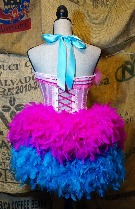 Detachable Burlesque Feather Bustle belt for corset costume or Steampunk dress