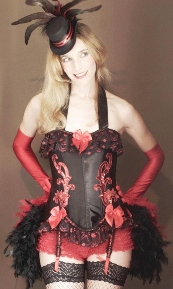 SONJA Sexy Adult Red & Black Burlesque Steampunk Halloween Corset Costume