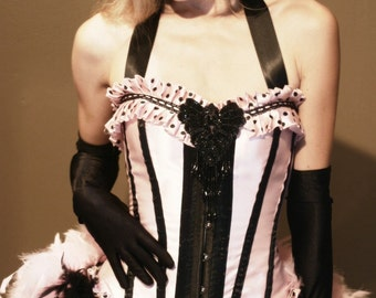 COTTON CANDY Striped Circus Ringmaster Costume Burlesque Dress with feather train