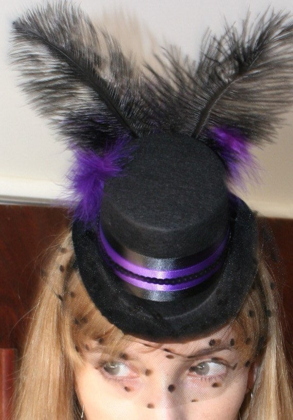 Purple Burlesque Steampunk wedding fascinator - Black mini top hat w/ veil