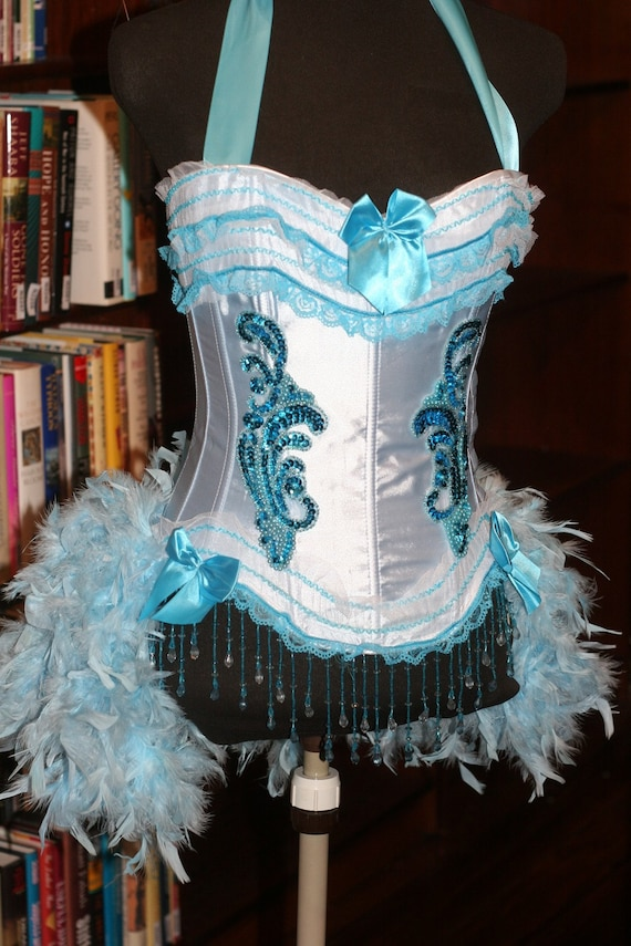 IRIS Blue Ice Princess Burlesque corset costume Showgirl feathered outfit - EVERYTHING INCLUDED