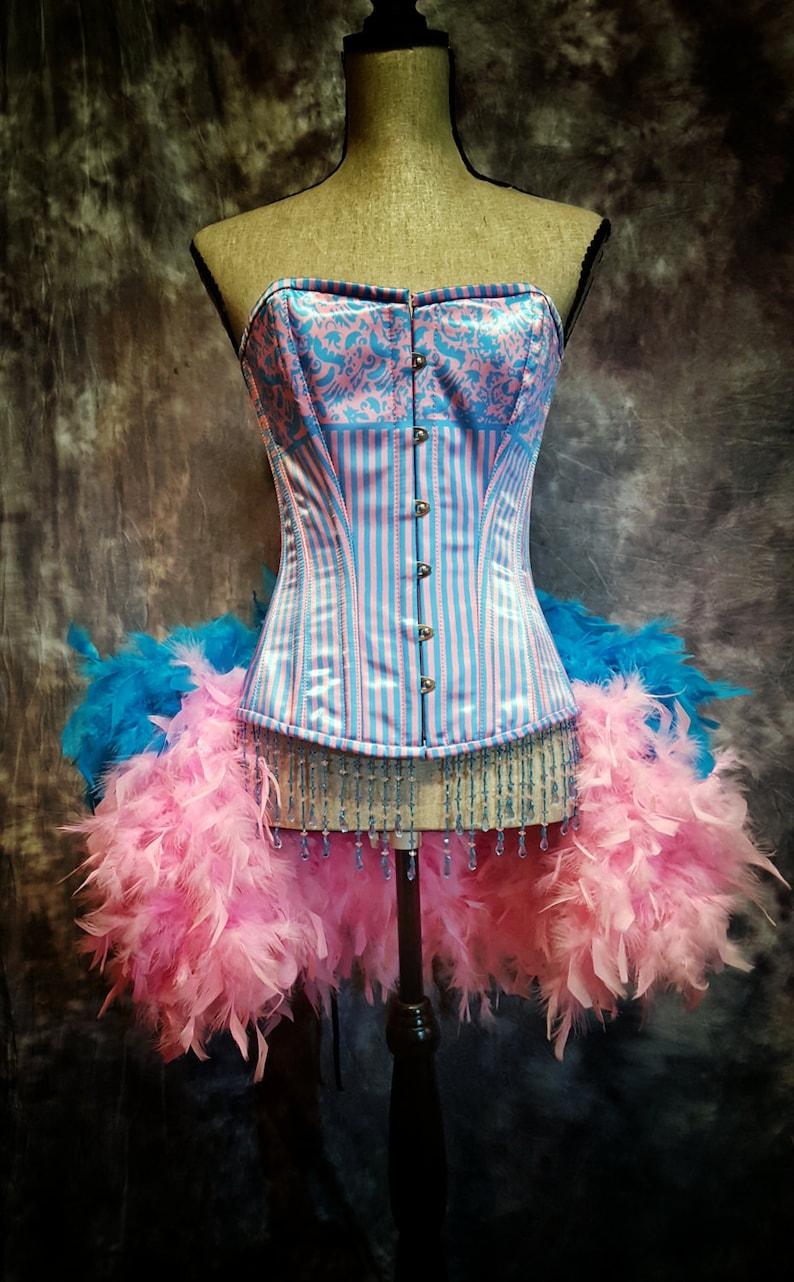 65bade0623c BUBBLE GUM Pink Blue Striped Corset Dress Feather Burlesque