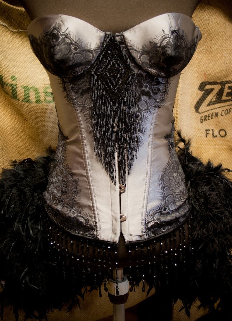 fc24c6e6166 MISTRAL Black Grey Burlesque Corset Feather Costume Steampunk