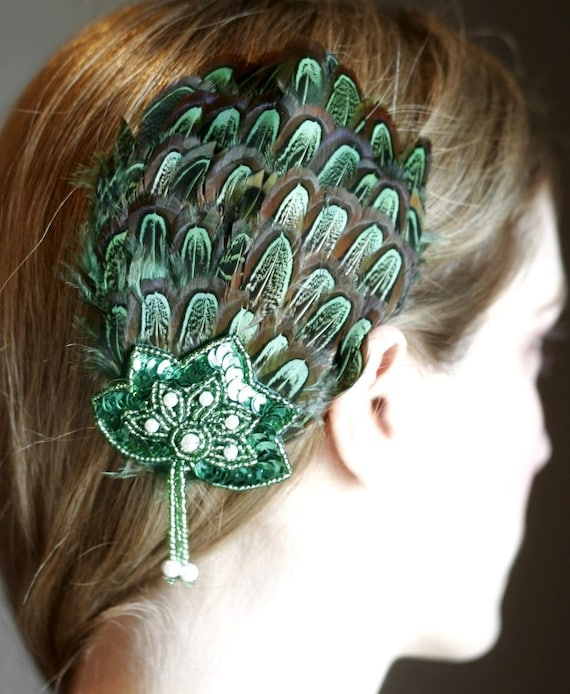 St. Patrick's Christmas Green Feather Pad Fascinator