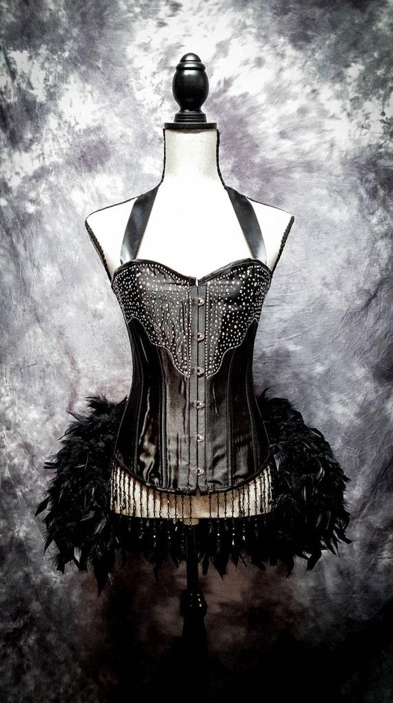 BLACK DIAMOND Steampunk Wedding Dress Burlesque Corset Costume S, M, L, XL