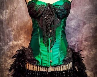 XL - GREEN FAIRY Steampunk Dress Saloon Girl Black Vintage Movie Burlesque Costume w/ Feather Train