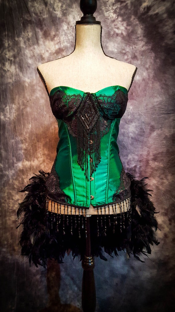 GREEN FAIRY Steampunk Dress Saloon Girl Moulin Black Burlesque Feather Costume w/ Feather Train