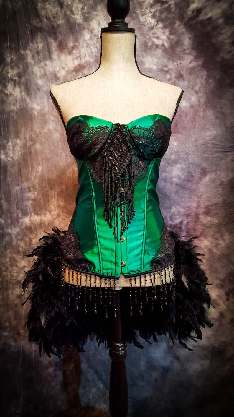 8542604b093e GREEN FAIRY Costume Steampunk Dress Saloon Girl Black Moulin
