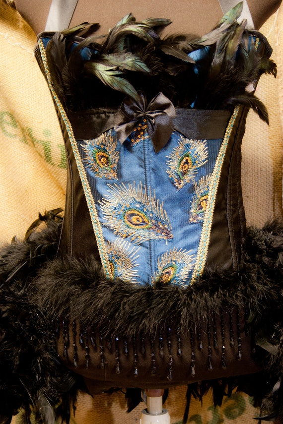 PAVLIN - Peacock Costume blue black Burlesque corset, steampunk gothic Halloween dress