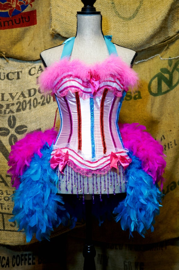 GYPSY ROSE Ringmaster Costume Circus dress Burlesque outfit with feather bustle Large & XL