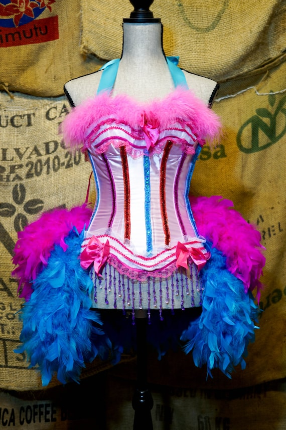 GYPSY ROSE Circus Costume Ringmaster dress, pink blue burlesque Mardi Gras feather skirt