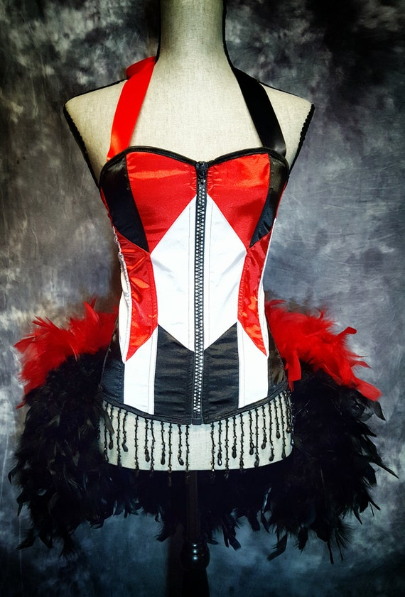 GEOMETRIC Red White Black Burlesque Cosplay Costume Corset Harley Quinn harlequin