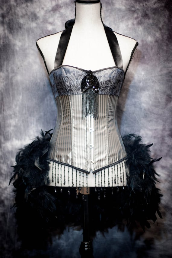 STORM Burlesque Outfit Silver Black Striped Corset Steampunk Dress with Feather Bustle