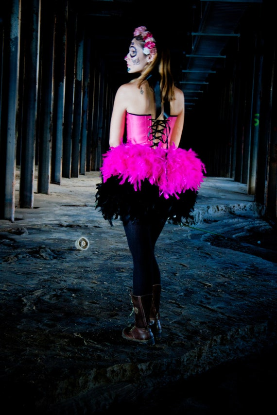 NICHOLE Burlesque Corset Costume feathers dress with Pink & Black Victorian lace Halloween