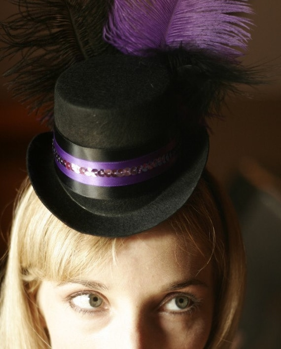 Purple and Black Mini Top Hat for a Burlesque Showgirl Wedding or party