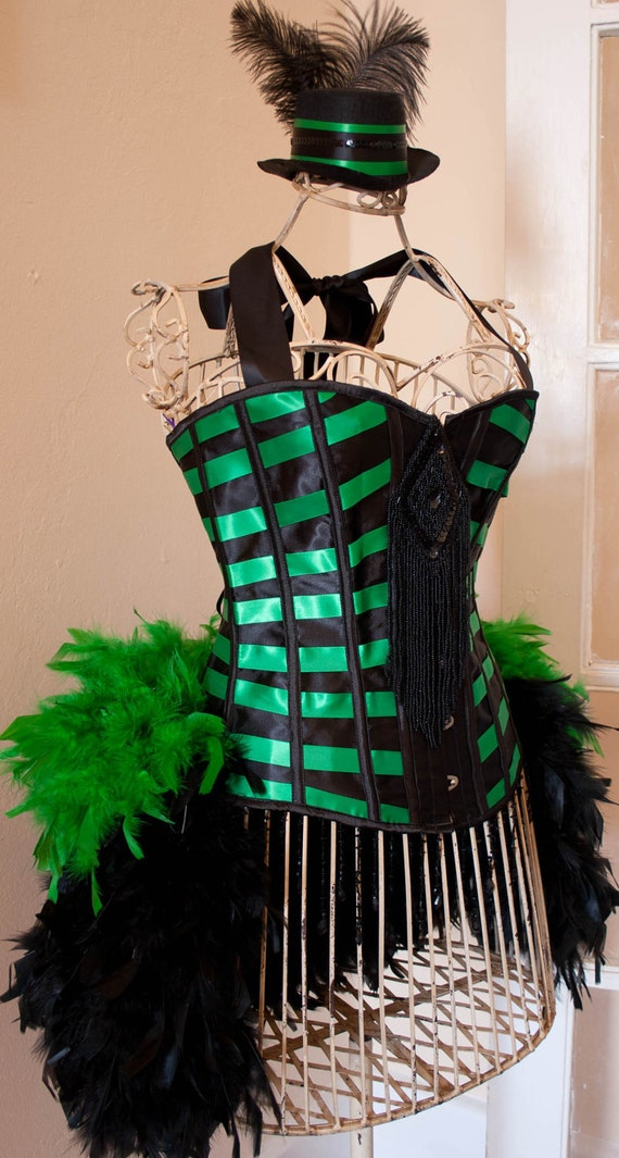 MICHELLE Burlesque Corset Costume dress Green Black Feather Bustle EVERYTHING INCLUDED