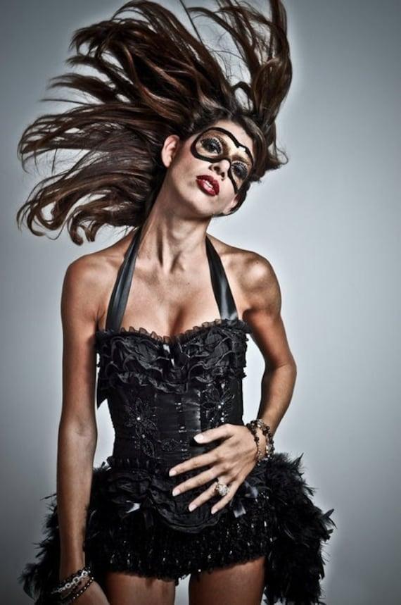 BLACK SWAN Costume Burlesque Corset Steampunk Cosplay Dress Feather Bustle