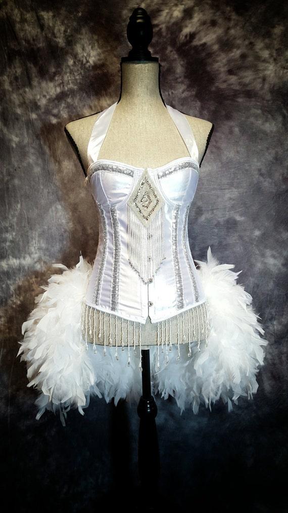 SNOW QUEEN White Swan Costume Wedding Corset Feather Burlesque Dress