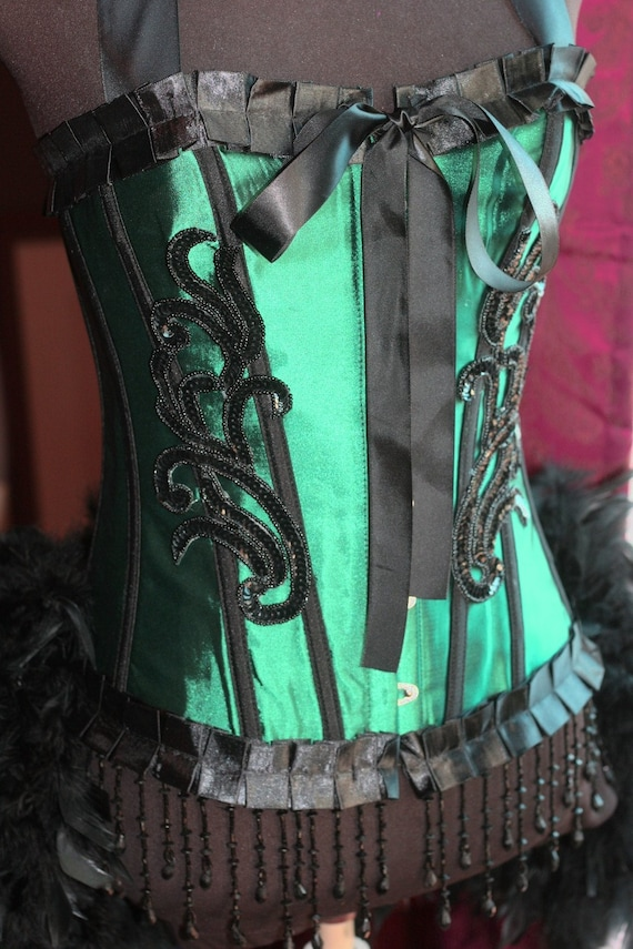 ABSINTHE Green Fairy Costume Circus Cosplay Burlesque Corset Feathers Black outfit - XL size