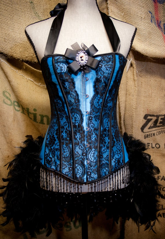 MARIE ANTOINETTE corset cosplay dress burlesque Can Can Costume Blue Showgirl feathers