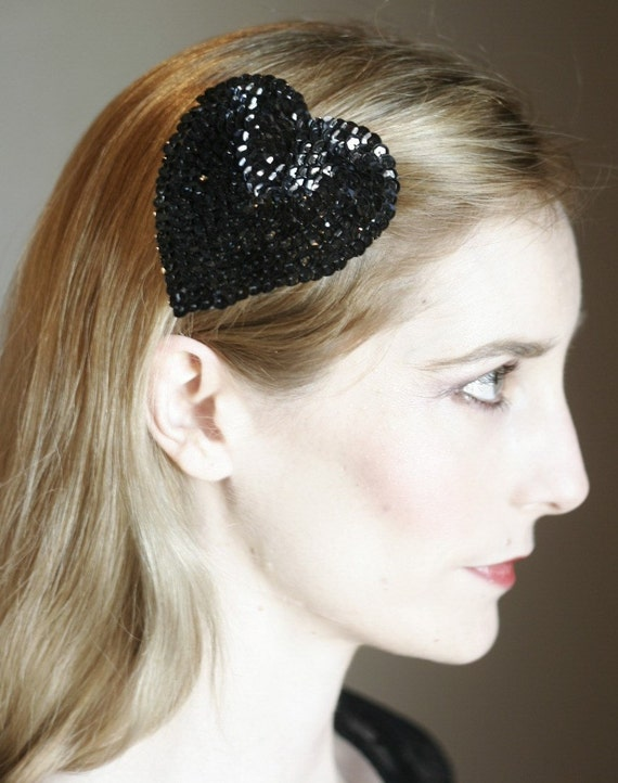 Black or Pink Valentine's Day Sequins Heart Fascinator Clip