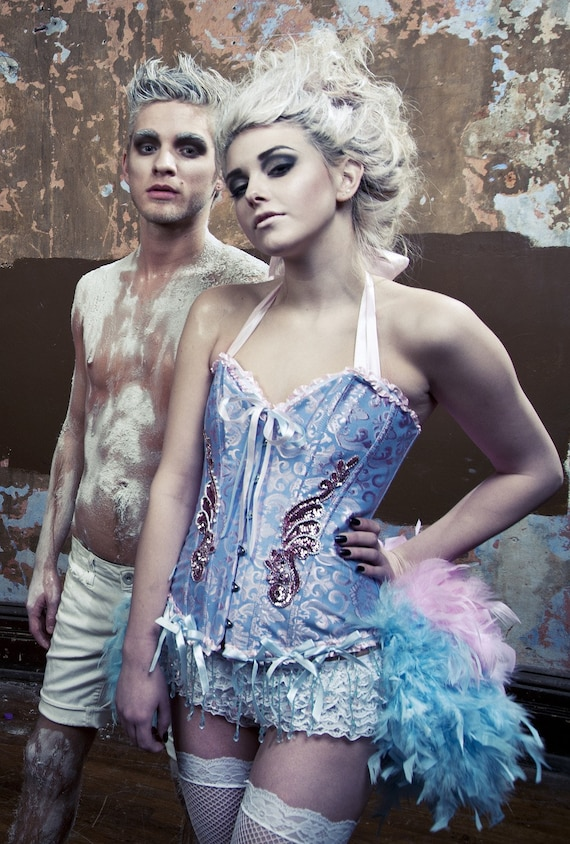 ALICE IN WONDERLAND Burlesque Cosplay Costume Corset Blue Pink Sexy Steampunk Circus feather dress