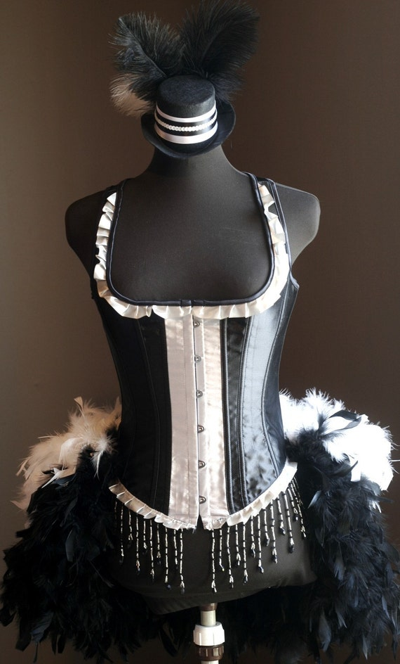 MADAME - Burlesque Feather Fringe Costume Corset, Black White Tuxedo prom dress