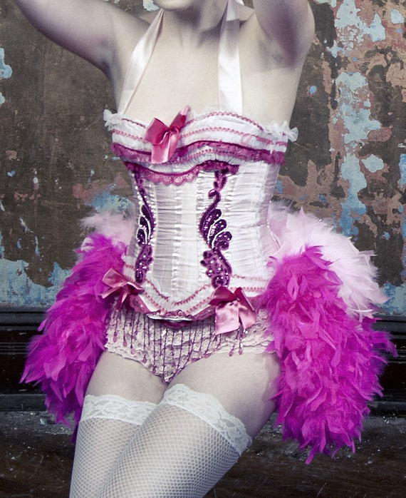 PINK LADY Circus Cosplay Burlesque Corset Costume Showgirl Steampunk dress