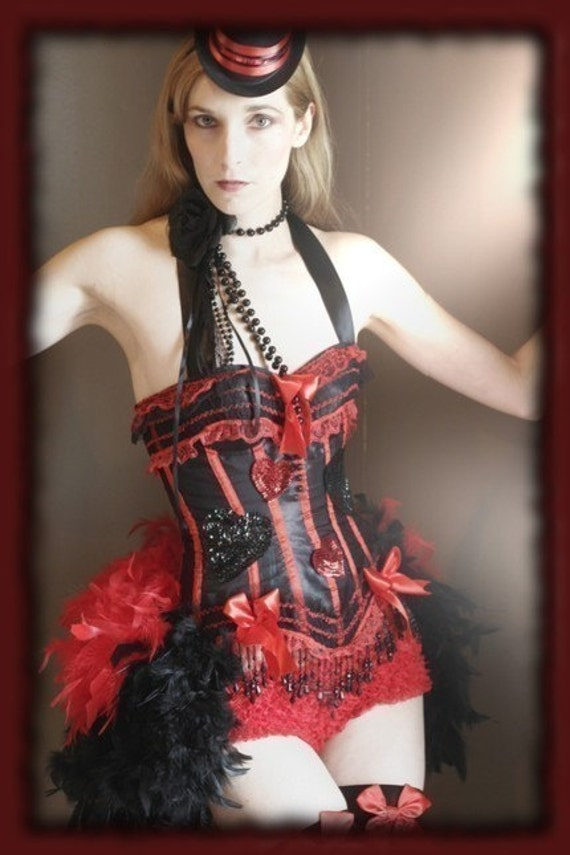 QUEEN OF HEARTS Burlesque Corset Costume Red Black 2XL,xxl