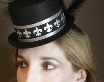 Fleur De Lis - Black and Silver Mini Top Hat with ostrich feathers