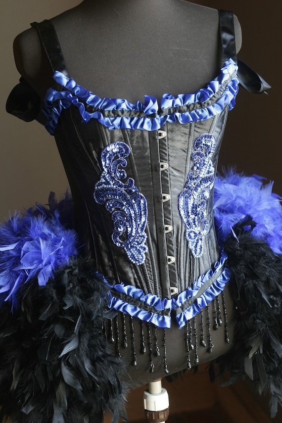BLACK IRIS Burlesque Feather Dress Saloon Costume showgirl gothic Blue beaded corset