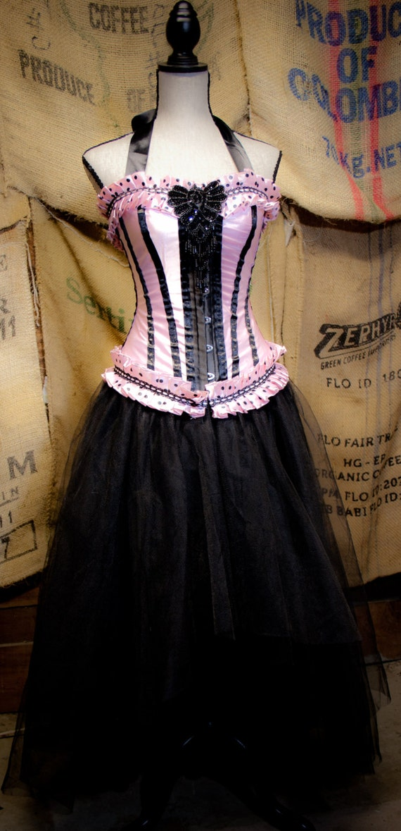 Gothic Steampunk Corset costume vintage movie inspired pink & Black tulle skirt prom dress