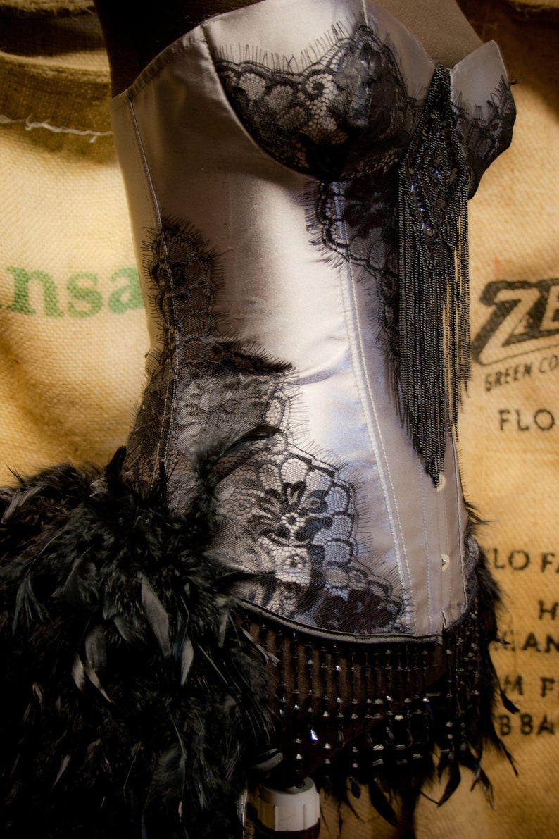 04d14b83a MISTRAL Black Grey Burlesque Corset Feather Costume Steampunk