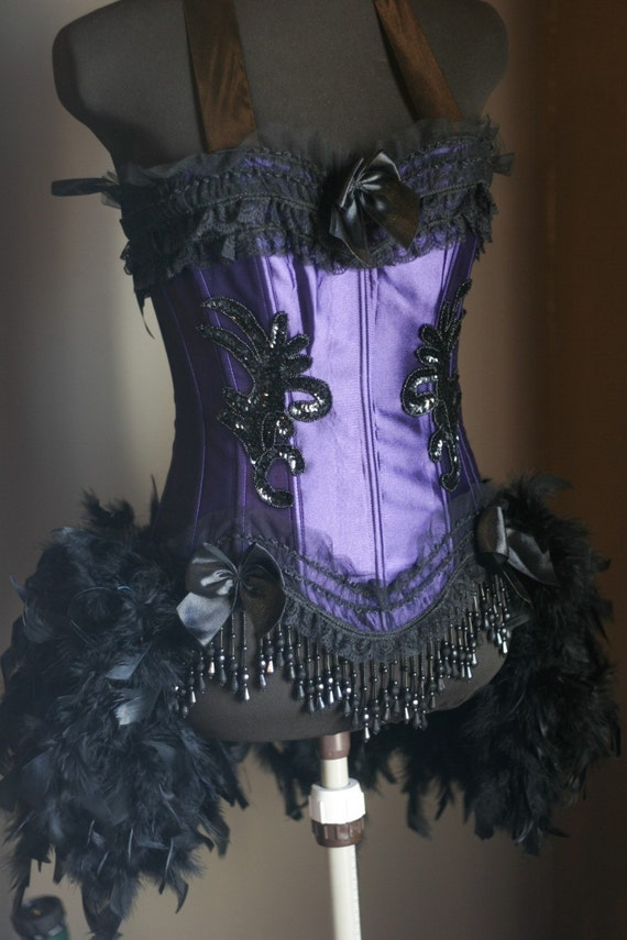 MELISSA Burlesque Feather Costume Black Purple Corset showgirl Mardi Gras Costume dress