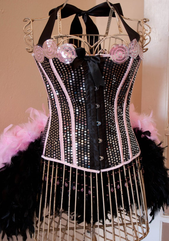 PRINCESS - pink black Circus Corset Burlesque Costume sequins prom sexy dress