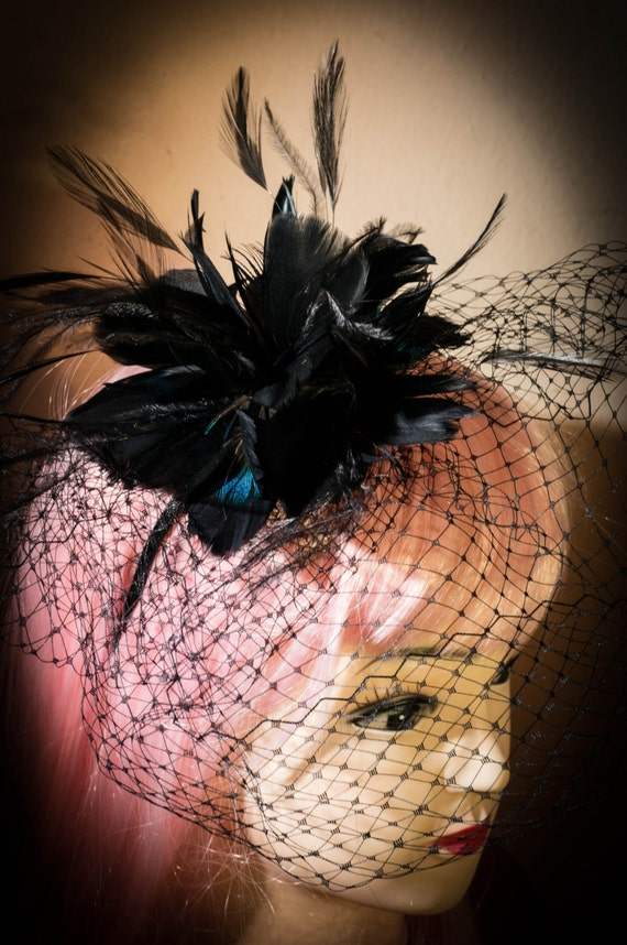 Black Steampunk Feather headband Bridal Birdcage Veil Wedding Fascinator