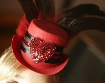 Queen of Hearts Red Burlesque Mini Top Hat fascinator with feathers for Valentine's Day