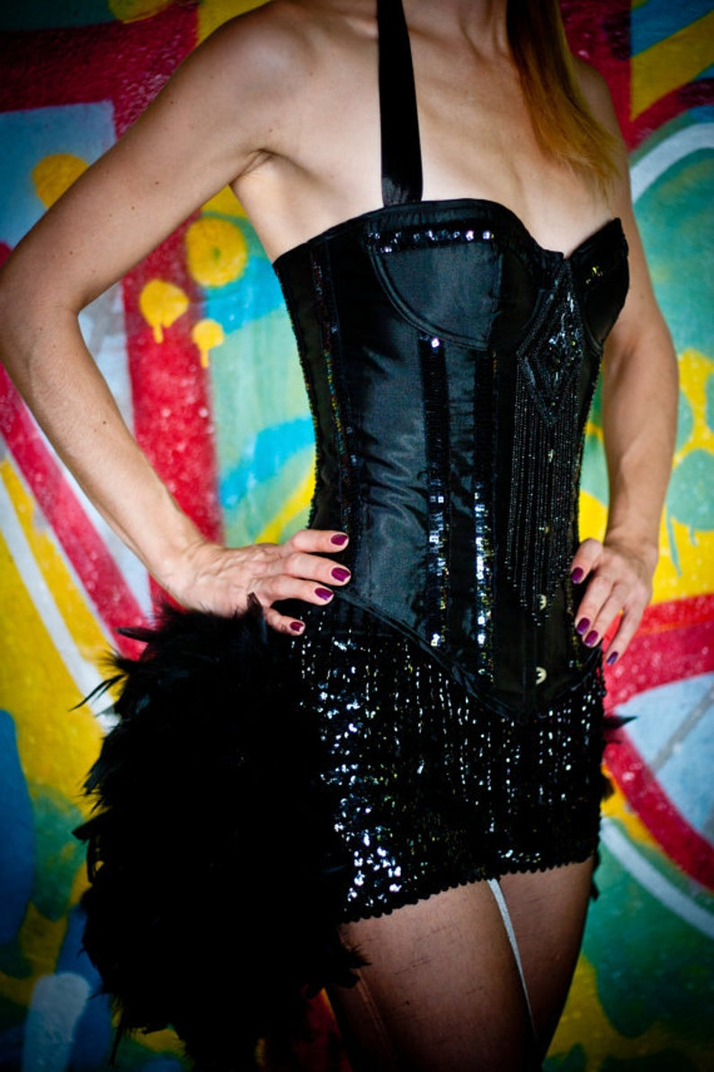 Feather Sequin dance shorts bloomers for Burlesque Showgirl image 0