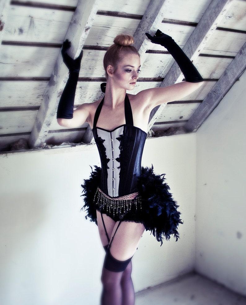 e0670211327 BLACK DERBY White Burlesque outfit ballerina corset costume