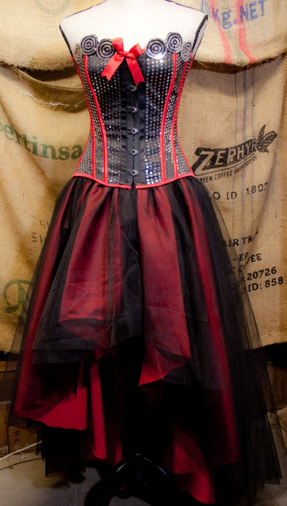 Gothic Prom dress with tulle skirt Red Black Burlesque Corset Costume Steampunk