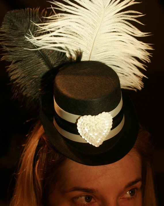 Valentine's Day black and white tuxedo Mini Top Hat - Great for a holiday party