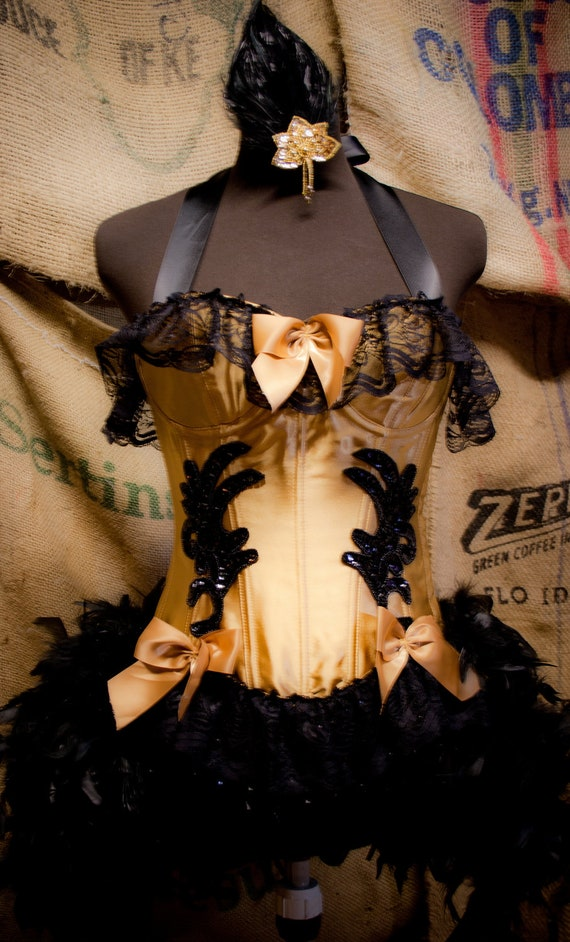 SAINT - Gold & Black Burlesque Corset Mardi Gras Costume, circus dress w/ Feather Fascinator - Small