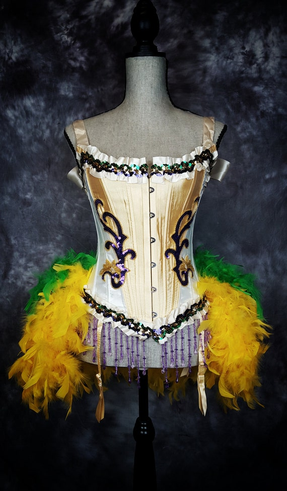 Steampunk Circus MARDI GRAS Costume Gold Purple Green Dress Ringmaster Outfit
