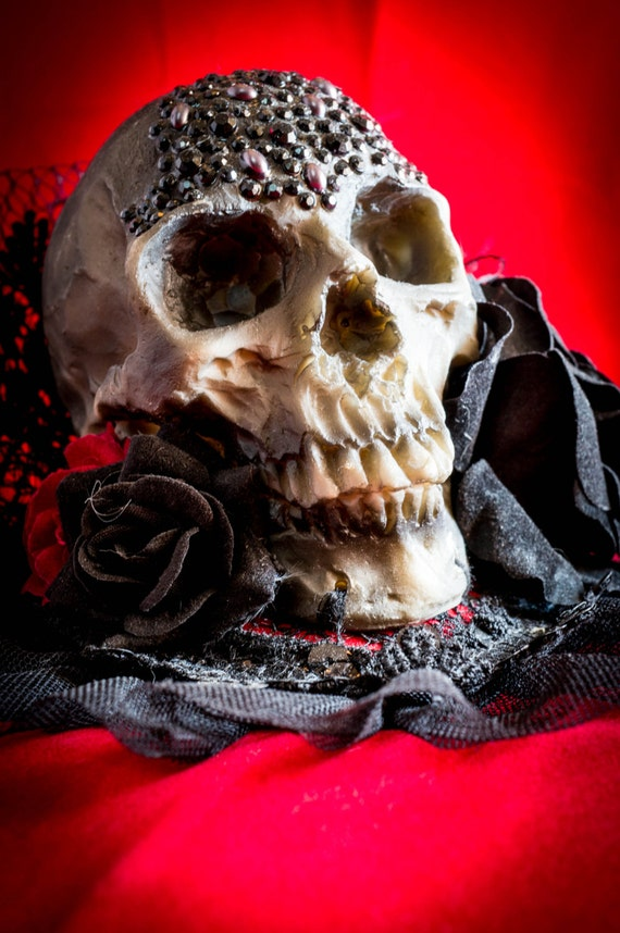 Day of the Dead Wasteland headdress Human Skull Steampunk Mini Top Hat gothic roses Skeleton