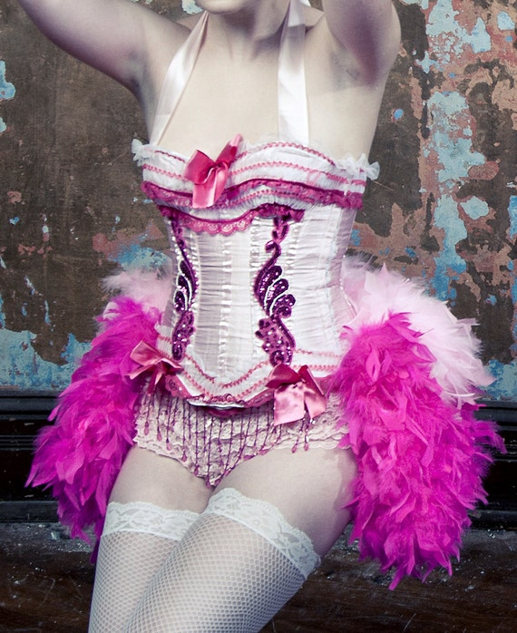 PINK LADY XXL 2XL Costume Burlesque Corset Saloon Girl Dress 1920s Great Gatsby