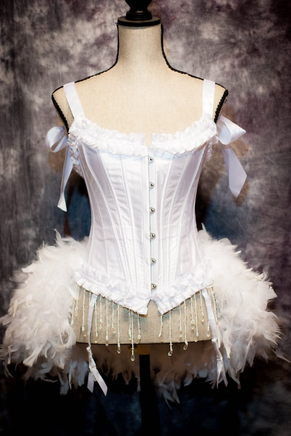 WHITE SWAN Wedding Corset Burlesque Costume bridal dress feather train bustle